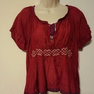 SALE!!🎉 ANTHRO ODD MOLLY RED BLOUSE